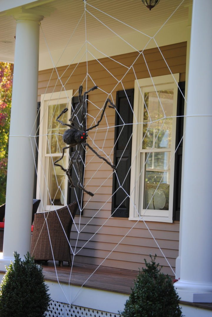 giant halloween porch spiderweb
