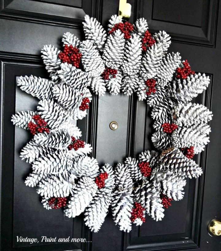 White Pinecone DIY Winter Wreath
