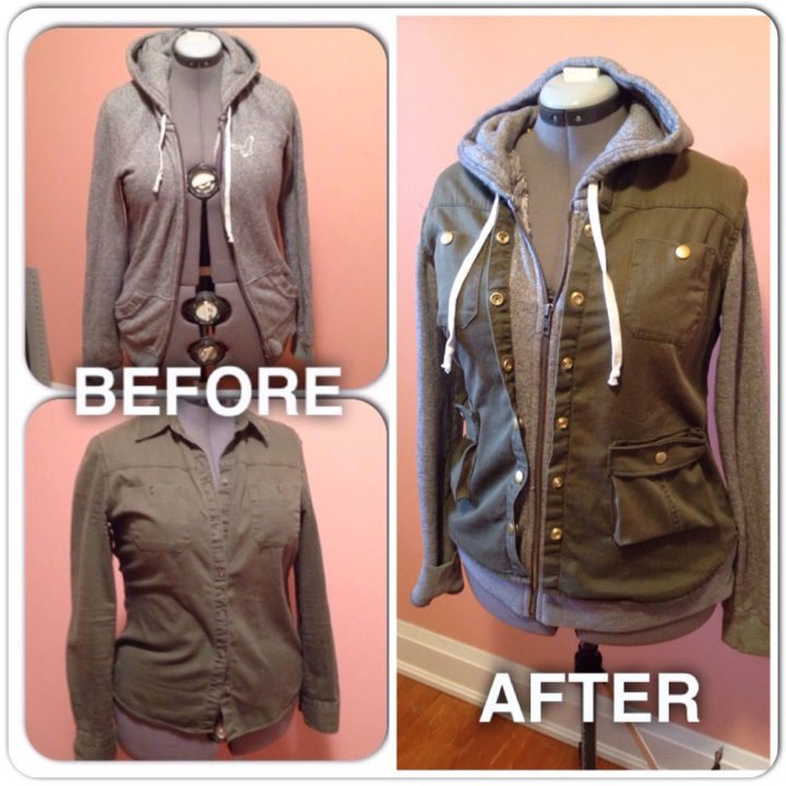 Upcycled Clothing | Hoodie + Jacket Refashion