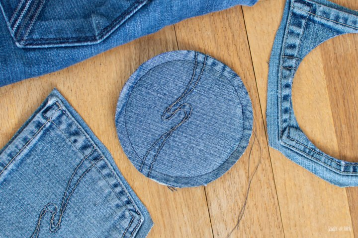 DIY Coasters Made from Jeans - Upcycled Jeans