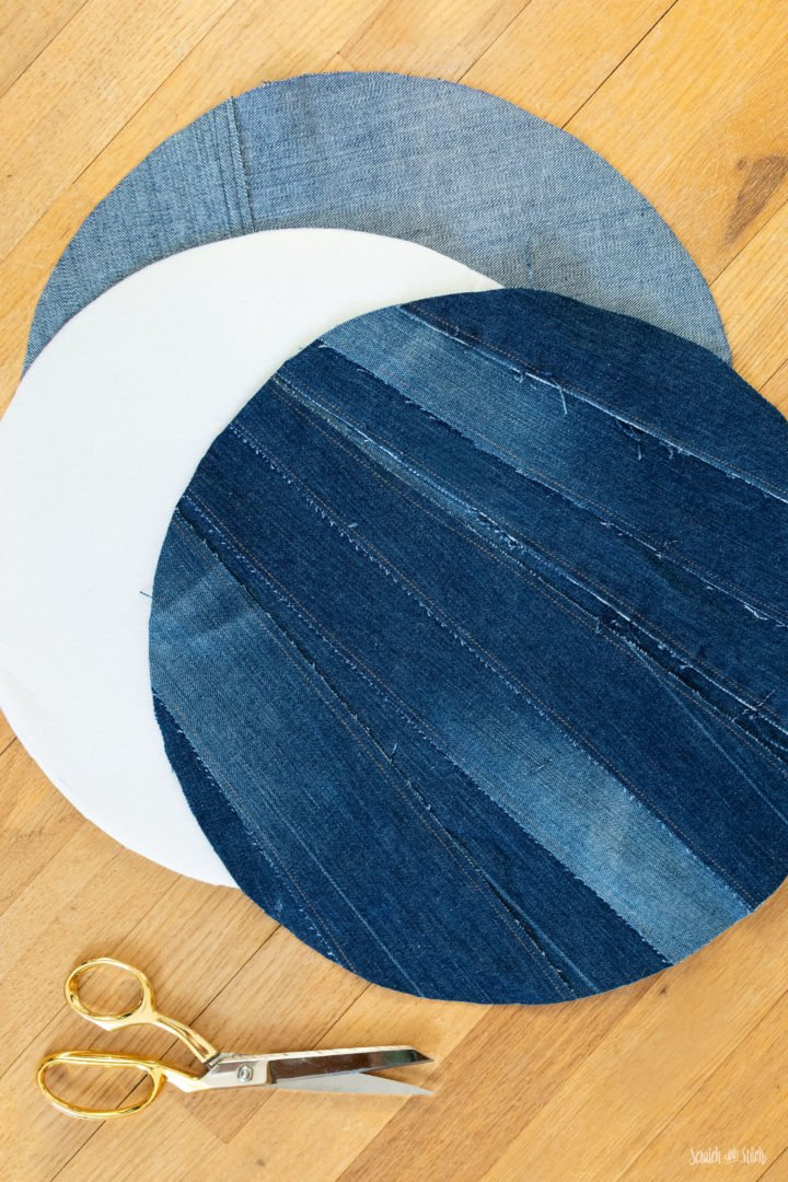 Upcycled Denim Placemats by Scratch and Stitch