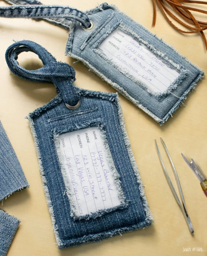 DIY Denim Luggage Tags