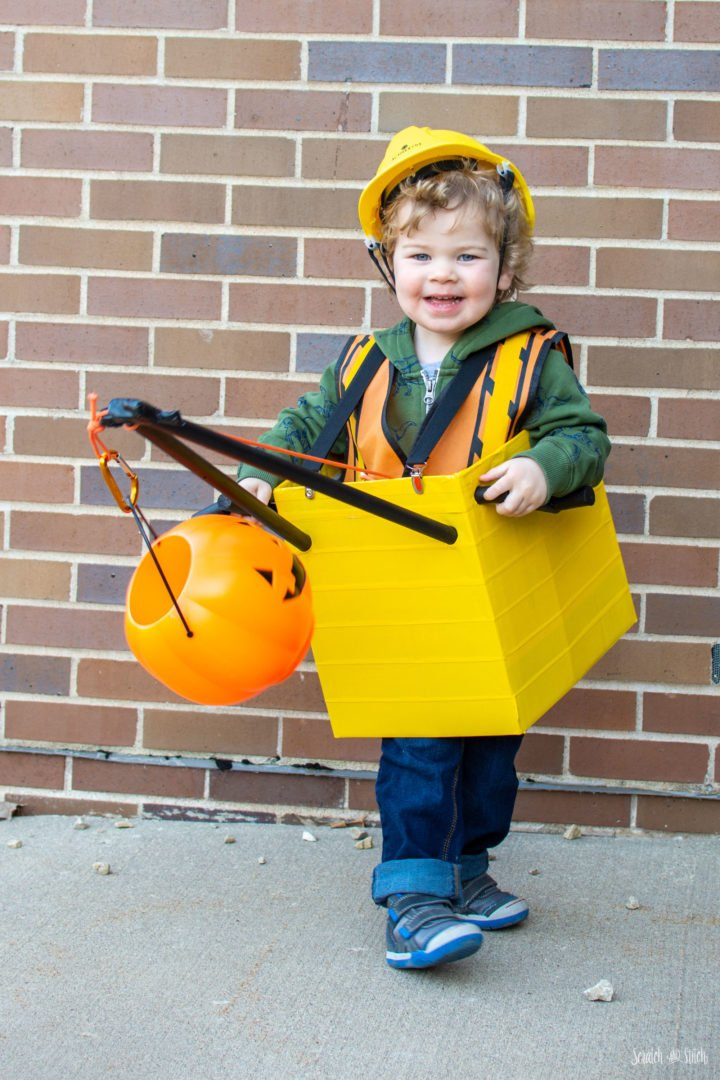 Toddler DIY Construction Costume - Wrecking Ball Crane by Scratch and Stitch