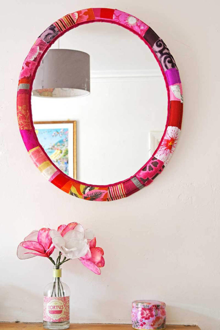 Scrap Fabric + Mod Podge Mirror Frame